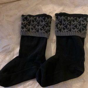 Michael Kors Boot Socks Black Sz M/L